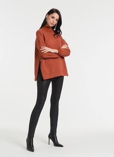 Styletag Yanları Fermuarlı Sweatshirt Kiremit